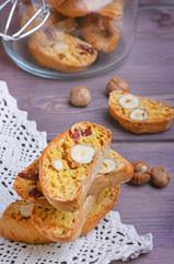 Pumpkin biscotti with hazelnuts and cranberries