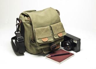 Old camera and bag.