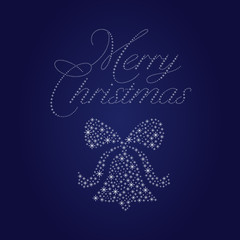 merry christmas card with bell and text made out of stars