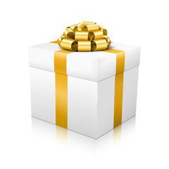 Geschenkpaket, Geschenk, Weihnachtsgeschenk, Gold, Weiß, 3D