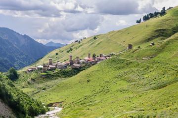 old village on caucasus mountain