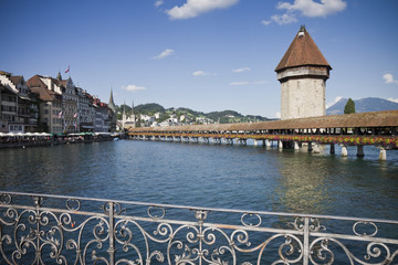 Wooden bridge in Lucerne (Switzerland)