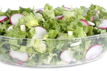 Fresh salad in glass bowl