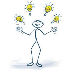 Strichmännchen mit Ideen und Glühbirnen