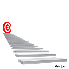 Vector conceptual red target on stair for success