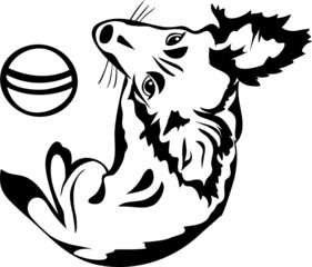 Cute dog with a ball, black stencil, second variant