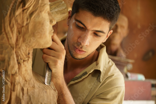 Sculptor young artist artisan working sculpting sculpture - 72368037