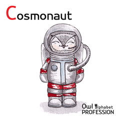 Alphabet professions Owl Letter C - Cosmonaut Vector Watercolor.