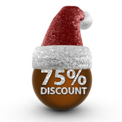 Discount 75 sphere icon on white background