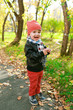 Happy little boy in autumn outdoors