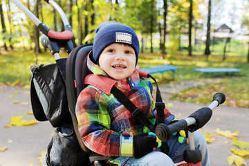 lovely little boy on a bike in autumn park