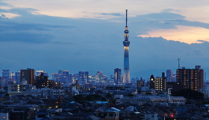 Tokyo sky tree and blue lighting in evening time