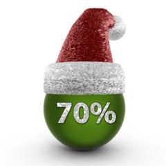 Seventy percent sphere icon on white background