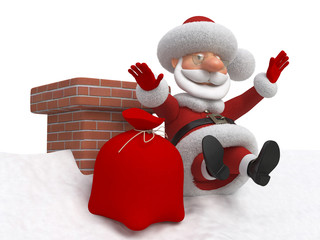3d Santa Claus falls from a roof