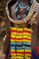 Close up of woman's dress from Hamer tribe