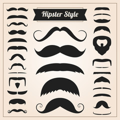Hipster style mustache vector set