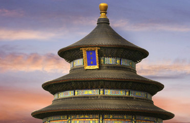 Sunset over Temple of Heaven in Beijing