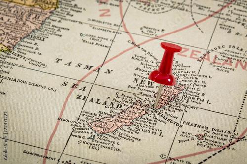 Foto op Canvas Nieuw Zeeland New Zealand on vintage map