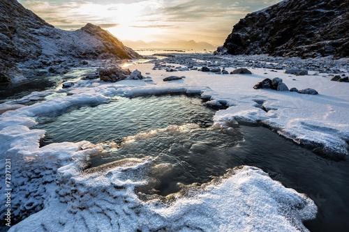 Arctic landscape - freezing river - Spitsbergen, Svalbard - 72371231