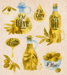 Watercolor drawn olive oil village style