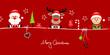 Card Santa, Rudolph & Elf Symbols Retro