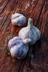 garlic head on a wooden background