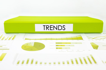 Trends concept with graphs, charts and marketing report
