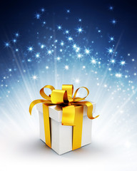 gift box on shiny blue background