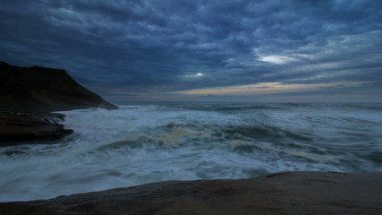 Crashing Waves and Clouds Time Lapse at Cape Kiwanda OR