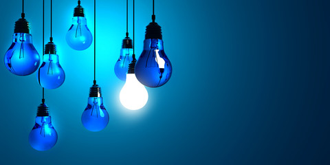 Idea concept, Hanging light bulbs with glowing one