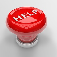 3d render of red help panic button