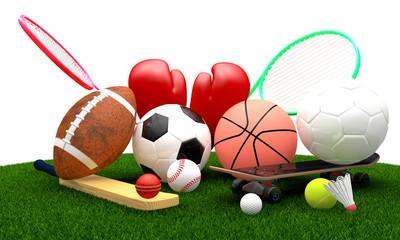 Recreation leisure sports equipment on grass