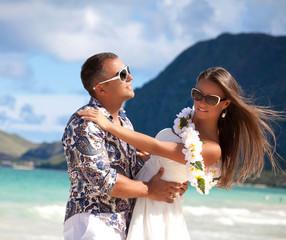 Beach couple travel.