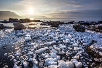 Arctic landscape with glacier ice - Spitsbergen