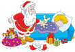 Santa Claus with Christmas gifts for a child