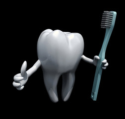 3d cartoon tooth holding a toothbrush