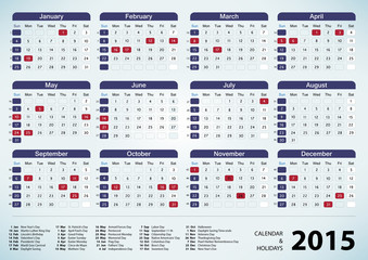 Calendar & Holidays - USA 2015