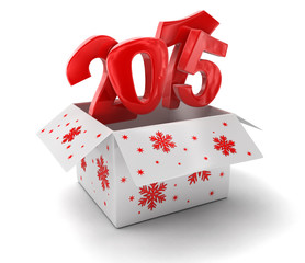 New year 2015 in box (clipping path included)