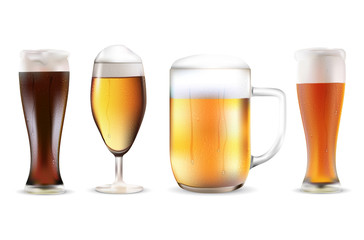 Set of four beers in dewy glasses