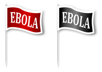 """Red and black flag with the inscription """"EBOLA"""" - vector"""