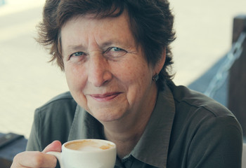 Senior Woman Enjoying Cup Of coffee