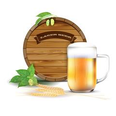 Wooden barrel, glass of beer, hops and barley