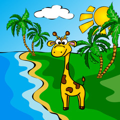 Funny cartoon giraffe near a river