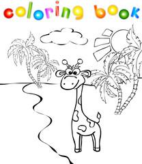 Funny cartoon giraffe near a river coloring book