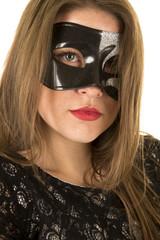 woman close mask seriouis red lipstick