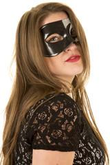 woman mask red lipstick close serious