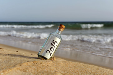 Happy new year, bottle with a message