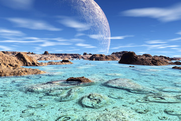 3d rendered fantasy alien planet. Shoal
