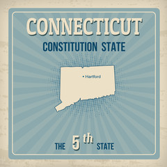 Connecticut  retro poster