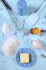 Food preparation on vintage blue wood background